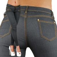 Sexy Women's Dark Grey / Blue Skinny Jeans Trousers Hipsters With Zippers M 601
