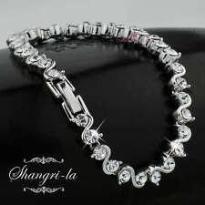 9K White GOLD GF Silver BRACELET with SWAROVSKI Lab DIAMOND Wedding PARTY L302