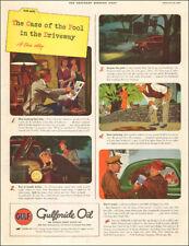 1940 vintage automotive oil AD GULF Gulfpride Oil , cartoon mystery art  082217