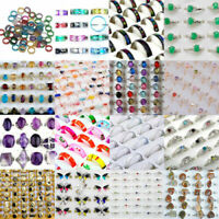 100PCS Wholesale Lots Fashion Jewelry Crystal CZ Rhinestone Silver Plate Rings