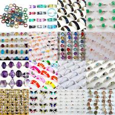 100Pcs Wholesale Lots Fashion Jewelry Crystal Cz Rhinestone Silver Plate Rings