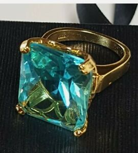 Huge High Set 14k Yellow Gold Plated Cubic Zirconia Aquamarine Ring Statment 6.5