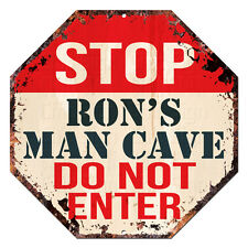 OTGM-0221 STOP RON'S MAN CAVE Tin Rustic Sign Man Cave Funny Decor Gift
