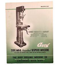 Vintage 1944 Avey Drillinbg Co. 8 Speed Machine Shop Bulletin Barney Machinery