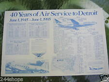 DELTA AIR LINES - 40 YRS SERVICE  TO DETROIT small POSTER 11 X 17