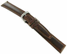 20mm Hadley Roma Brown Oil-Tan Genuine Leather Padded Mens Watch Band 881 Short