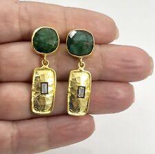 Genuine Emerald & CZ 22kt Gold Over Sterling Silver Dangle Earrings