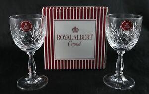 Pair Stunning Royal Albert Vintage fine Lead Crystal Sherry glasses - Boxed