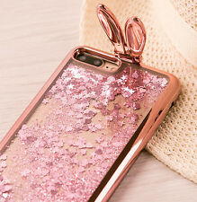 For iPhone 7+ PLUS - TPU Floating Liquid Stars/Hearts Rose Gold Bunny Ears Case