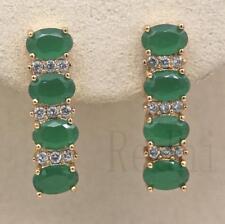 18K Gold Filled - Four Oval Emerald Topaz Jade Women Gems Wedding Hoop Earrings