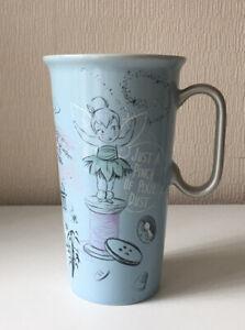 Disney store princesses mug blue silver tall 6 inch Ariel Pixy Mulan quote mug
