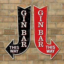 Vintage Style GIN BAR Arrow Sign, GIN BAR this way pointing sign,  Home Bar Sign