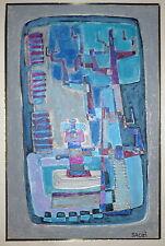 Saozi gouache et encre sur papier signée art abstrait abstraction surréalisme