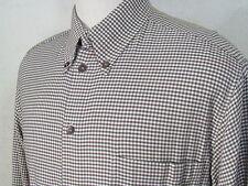 Ermenegildo Zegna Sport Brown Micro Check Plaid Men's Shirt L 16.5 Italy