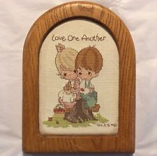 """PRECIOUS MOMENTS Finished Piece ARCHED FRAME 6.5"""" x 9"""" """"LOVE ONE ANOTHER"""" 1990"""