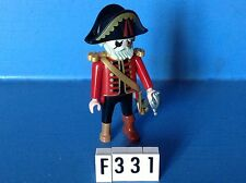 (F331) playmobil capitaine pirate rouge, jambe de bois 3936 3937 3938 3939 3940