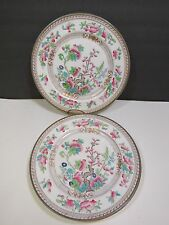 "4 Royal Doulton Dresden Indian Tree Dinner Plates 10.5"" Early Mark"