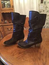 American Eagle By Payless Mid Calf Dark Brown Buckle Boots 7.5