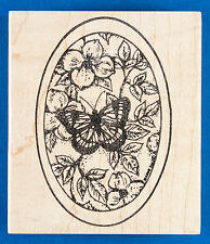 Butterfly on Dogwood Flowers Rubber Stamps by Northwoods - in Oval Frame