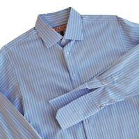 THOMAS PINK Blue Stripe Cotton Classic Fit Button Dress Shirt French Cuff 16 35