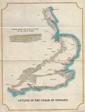 "Map - c1830 - ""OUTLINE OF THE CHALK OF ENGLAND"" - Hand Colored Engraving"