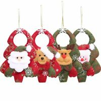 4Pcs Christmas Ornament Santa Claus Plush Snowman Xmas Tree Hanging Party Decor