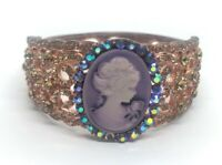 Vintage Bracelet Bangle Rhinestone Cameo Hinged 6.5""
