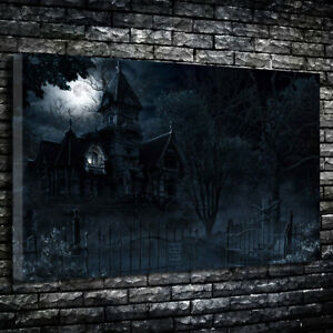 Creepy Horror Mansion Gothic Art Printed Canvas Picture Multiple Sizes 30mm Deep