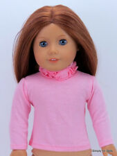 """Pink Solid Long Sleeve Doll T-Shirt w/Ruffles fit 18"""" American Girl Doll Clothes"""
