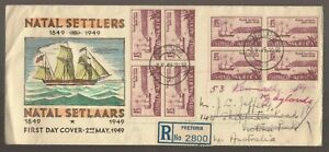 1949 South Africa NATAL SETTLERS Registered Block of 4 FDC to Australia