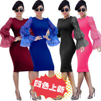 Fashion Women Beads Mesh Puff Sleeves Bodycon Cocktail Party Evening Club Dress