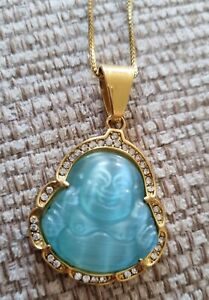 LIMITED AVAIL (BLUE) Jade Stone Buddha Pendant 18k Gold Plated Chain Necklace