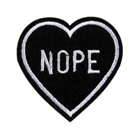 Black Heart Nope Embroidery Sew On Iron On Patch For Clothing DIY Accessories