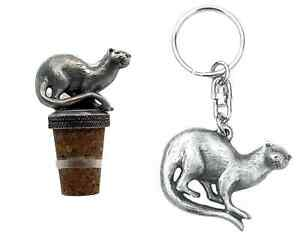 Gift Set Otter Hand Crafted Pewter Bottle Stopper And key ring