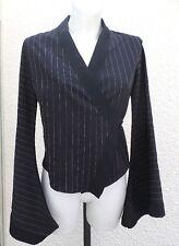 Haut Style Porte Feuille Manches Kimono Noir Rayures Blanc Taille 2