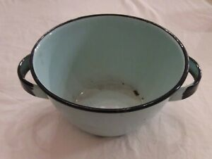 Vtg Enamelware Bowl Turquoise Aqua Blue Double Handle Black Farmhouse Wash Basin