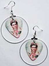 DAY OF THE DEAD SUGAR SKULL GUITAR PICK SILVER HOOP EARRINGS! FRIDA KAHLO MEXICO