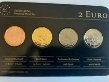 coffret 4 x 2 euros monaco 2013 plaqué or platine  rhotahnium