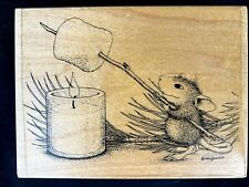 House Mouse rubber stamp 1997 Roasting marshmallow NEW collectible