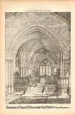 1876 ANTIQUE ARCHITECTURAL PRINT- CHANCEL, ST PETER'S IN THE EAST, OXFORD