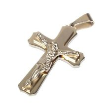 Men's Gold Stainless Steel Tone Cross Pendant With Necklace Sp11 USA Seller