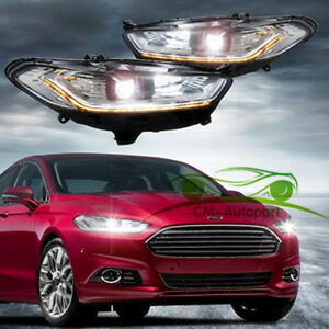 Headlights With LED High Light Sequential Turn Light Fit 2013-2016 Ford Fusion