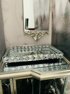 Rectangular Mirror Diamante Jewel Tray Plate Jewelled Candle Plate Tray 30x20cm