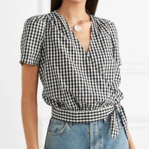 MADEWELL Ladies Short Sleeve Wrap Top In Black/White Gingham Check Size S