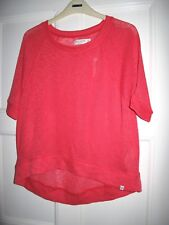 Gilly Hicks pink knitted short sleeve oversized t-shirt top XS UK8 EU36 US4