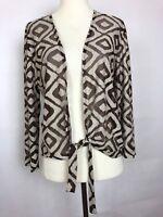 Chico's Travelers Woman's Brown/Tan Tie front sheer 3/4 sleeve Top Wrap Sz Sm 0