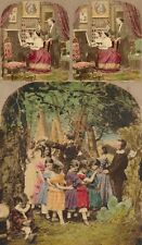 18 Genre Motive um 1860, Stereofotos, Stereoviews, coloriert, Lot 8