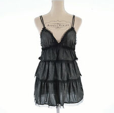 LINGERIE NUISETTE BABYDOLL SEXY TAILLE S OU 36 38 NOIR ARGENT KISS ZAZA2CATS