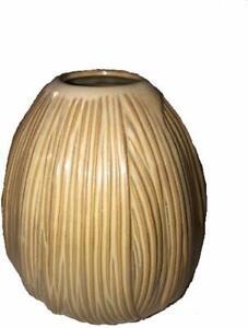 Best West Home Decor 6 inch Bud Tan Brown Short Strands Ceramic Texture Vase