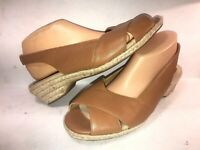 SOFTSPOTS 10 W GOLDEN BROWN LEATHER SLINGBACK WEDGE HEEL WOMEN SANDAL PUMPS HR-7